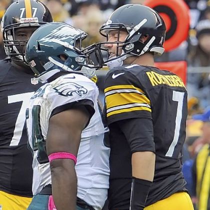 Steelers quarterback Ben Roethlisberger gets in the face of Philadelphia's Brandon Graham after taking a hard hit in the second quarter Sunday at Heinz Field.