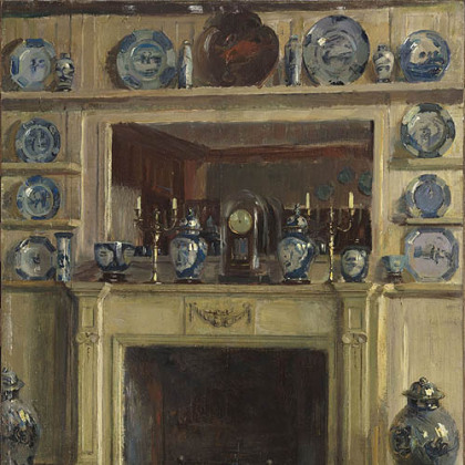 """Blue and White"" by Walter Gay, part of ""Impressions of Interiors: Gilded Age Paintings by Walter Gay"" exhibition at The Frick Art Museum."