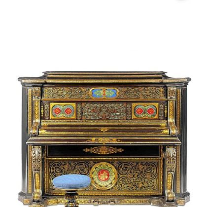 This gilded pianoforte and stool, circa 1867, were made by John Bettridge and Co. of papier-mache mother-of-pearl, aluminum, brass, glass and silk.