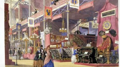 "Joseph Nash's color lithograph ""Hardware at the Great Exhibition"" shows the 1851 world's fair in London."