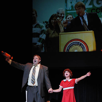 Michael Moats as Rich Fitzgerald and Lauren Haffner as Erin Fitzgerald sing &quot;Assessments Tomorrow.&quot;
