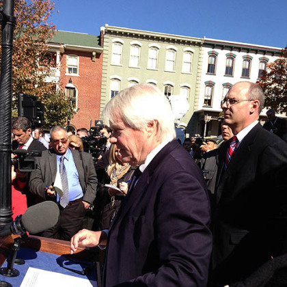 Prosecutor Joseph McGettigan outside the Centre County Courthouse