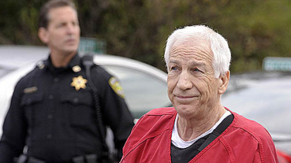 Jerry Sandusky in escorted this morning into the Centre County Courthouse for his sentencing on 45 counts of child sex abuse.