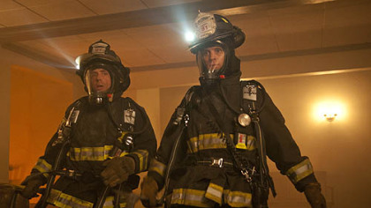 "David Eigenberg, left, and Jesse Spencer portray firefighters on the new NBC series ""Chicago Fire."""