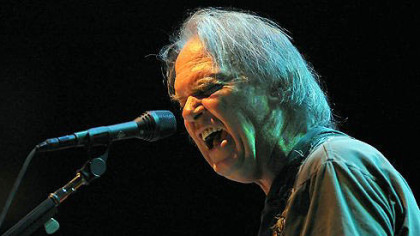 Neil Young performs at the Petersen Events Center Tuesday night.
