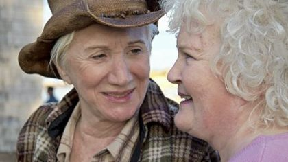 "Oscar winners Olympia Dukakis, left, and Brenda Fricker star in ""Cloudburst."""
