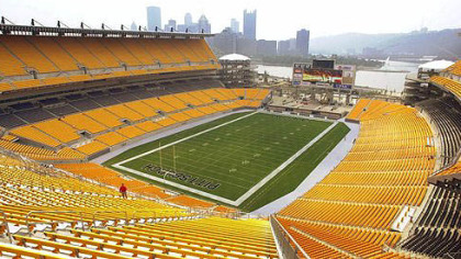 A view from a high seat in Heinz Field showcases Downtown Pittsburgh and the confluence of the Allegheny and Monongahela Rivers.