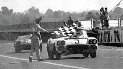 The No. 3 Corvette, above takes the flag in the 1960 Le Mans race. It's one of three fielded in the race, including the disputed No. 1.