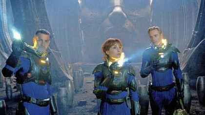 "Logan Marshall-Green, left, Noomi Rapace and Michael Fassbender in ""Prometheus."""