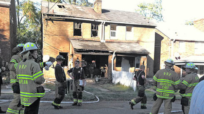 Scene today at the fatal fire in Greenfield.