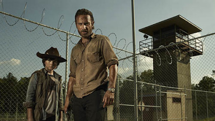 "Carl Grimes (Chandler Riggs) and Rick Grimes (Andrew Lincoln)are part of the cast in ""The Walking Dead."""