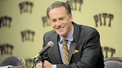 Pitt head coach Jamie Dixon talks to the media about the upcoming season at the Petersen Events Center.
