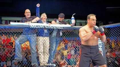 Bas Rutten, left, Henry Winkler and Mark Dellagrotte cheer on Kevin James in &quot;Here Comes the Boom.&quot;