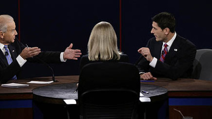 Vice President Joe Biden and Republican vice presidential nominee Rep. Paul Ryan of Wisconsin spar during the vice presidential debate.