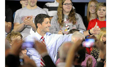 Republican vice presidential candidate Paul Ryan gives the audience a thumbs up Saturday before a town hall meeting at Youngstown State University.