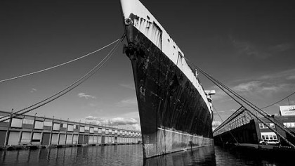 The SS United States' bow was tall and narrow to cut through North Atlantic waves.