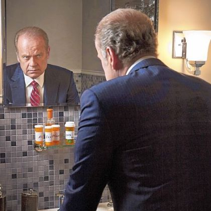 Chicago Tom Kane (Kelsey Grammer) from the Starz series &quot;Boss.&quot; He is taking medicine for a fatal degenerative condition.