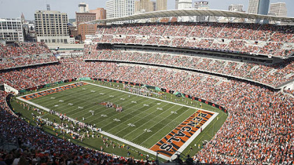 Paul Brown Stadium in Cincinnati, where the Steelers will play the Bengals Oct. 21.