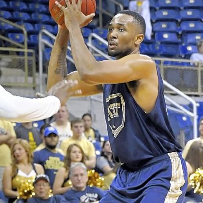 Pitt&#039;s Trey Zeigler looks to pass in the Blue-Gold basketball scrimmage Sunday at Petersen Events Center.