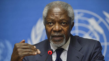 Former U.N. Secretary General Kofi Annan in a June press conference at the United Nations' headquarters in Geneva, Switzerland.