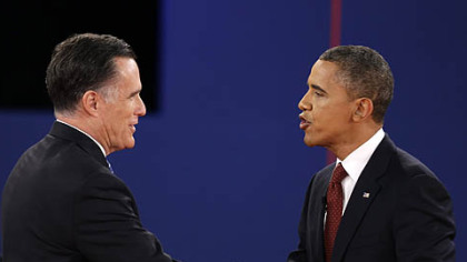 President Barack Obama and Republican presidential nominee Mitt Romney shake hands at the conclusion of their second presidential debate tonight at Hofstra University in Hempstead, N.Y.