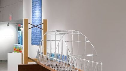 "Gwylene Gallimard and Jean Marie Mauclet's residency and ""Ten More Years on Penn"" exhibition at Pittsburgh Glass Center included this 7-foot glass bridge, created in collaboration with glass artists."