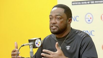 Steelers coach Mike Tomlin speaks to the media earlier this month at the team's South Side training facility.