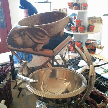 Handcrafted antler wine cooler, $85