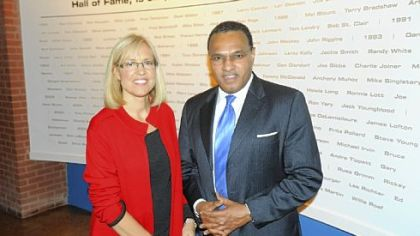 Awards director Kim O'Dell and Freeman Hrabowski