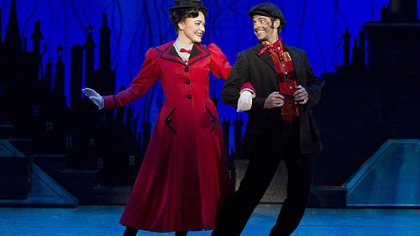 "Madeline Trumble stars as Mary Poppins and Con O'Shea Creal plays Bert in ""Mary Poppins"" national company at the Benedum Center."