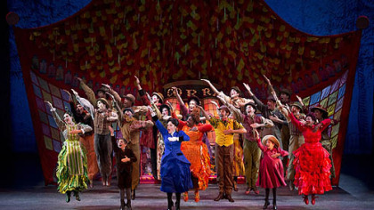 "The ensemble in the touring production of ""Mary Poppins"" gets animated to perform ""Supercalifragilisticexpialidocious."""