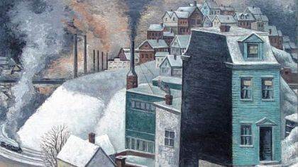 """Mill Town in Winter"" by Ernest Fiene."