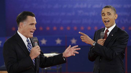 President Barack Obama and Republican presidential nominee Mitt Romney exchange views during the second presidential debate.