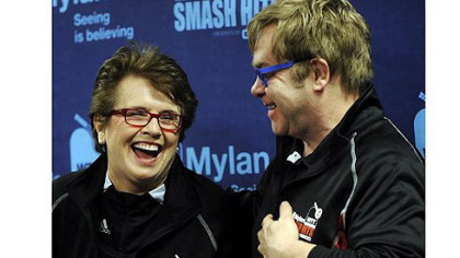 Billie Jean King and Elton John share a laugh at a news conference before the start of the Mylan World Team Tennis Smash Hits Tuesday at Petersen Events Center.