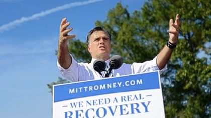 Republican presidential candidate Mitt Romney gestures to the crowd Wednesday during a campaign rally at The Grove, in Chesapeake, Va.