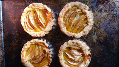 If you have apples on hand, and wind up with extra pastry, you can use a little sugar and cinnamon to make mini apple tarts like these.