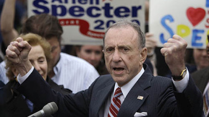 In this May 17, 2010 file photo, Sen. Arlen Specter, D-Pa., speaks at the Citizens Bank Park, in Philadelphia, as he campaigned across Pennsylvania for the Democratic nomination to run for re-election.