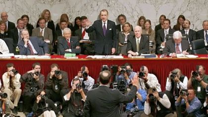 On Jan. 9, 2006, Mr. Specter, chairman of the Senate Judiciary Committee, swears in Supreme Court nominee Samuel Alito, back to camera, during his confirmation hearing.