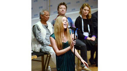 Singer Joss Stone performs during the opening ceremony for the One Young World Summit at Heinz Hall on Thursday.