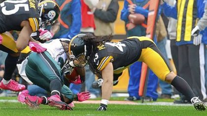 Troy Polamalu, right, will miss Sunday's game due to a leg injury suffered Oct. 7 against the Eagles.