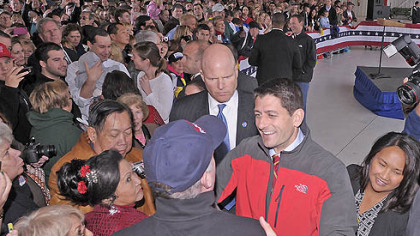 Republican vice presidential candidate Paul Ryan greets supporters after his speech at Atlantic Aviation in Moon Township today.