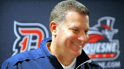 New Duquesne coach Jim Ferry talks to the media Friday before the start of Dukesfest.