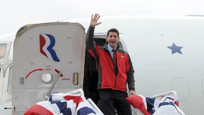 Republican vice presidential candidate Paul Ryan acknowledges crowds while arriving at Atlantic Aviation in Moon.