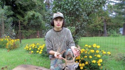 Nicholas Darke, 16, of Beechview with his first buck.
