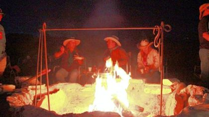 Campfire conversation during the three-day chili festival in Terlingua, Texas.