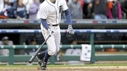 Don Kelly watches his winning sacrifice fly in the ninth inning of Game 2 of the American League Division Series.