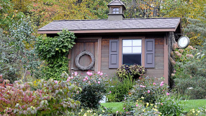 A potting shed in the garden of Rosemary Romboski.