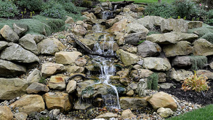 The pond-less waterfall in Rose Romboski's garden.
