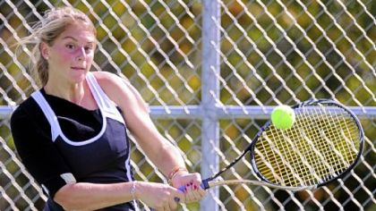 Quaker Valley's Spencer Caravaggio won her match against Sewickley's Samantha Gohh in the WPIAL team tournament final.
