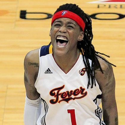 Former Pitt star and Indiana Fever guard Shavonte Zellous celebrates in the closing seconds against the Minnesota Lynx in Game 4 of the WNBA basketball Finals.